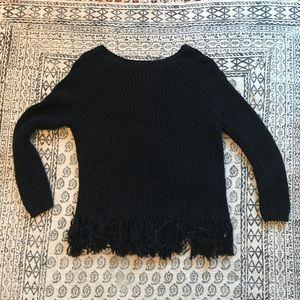 H&M black fringe sweater